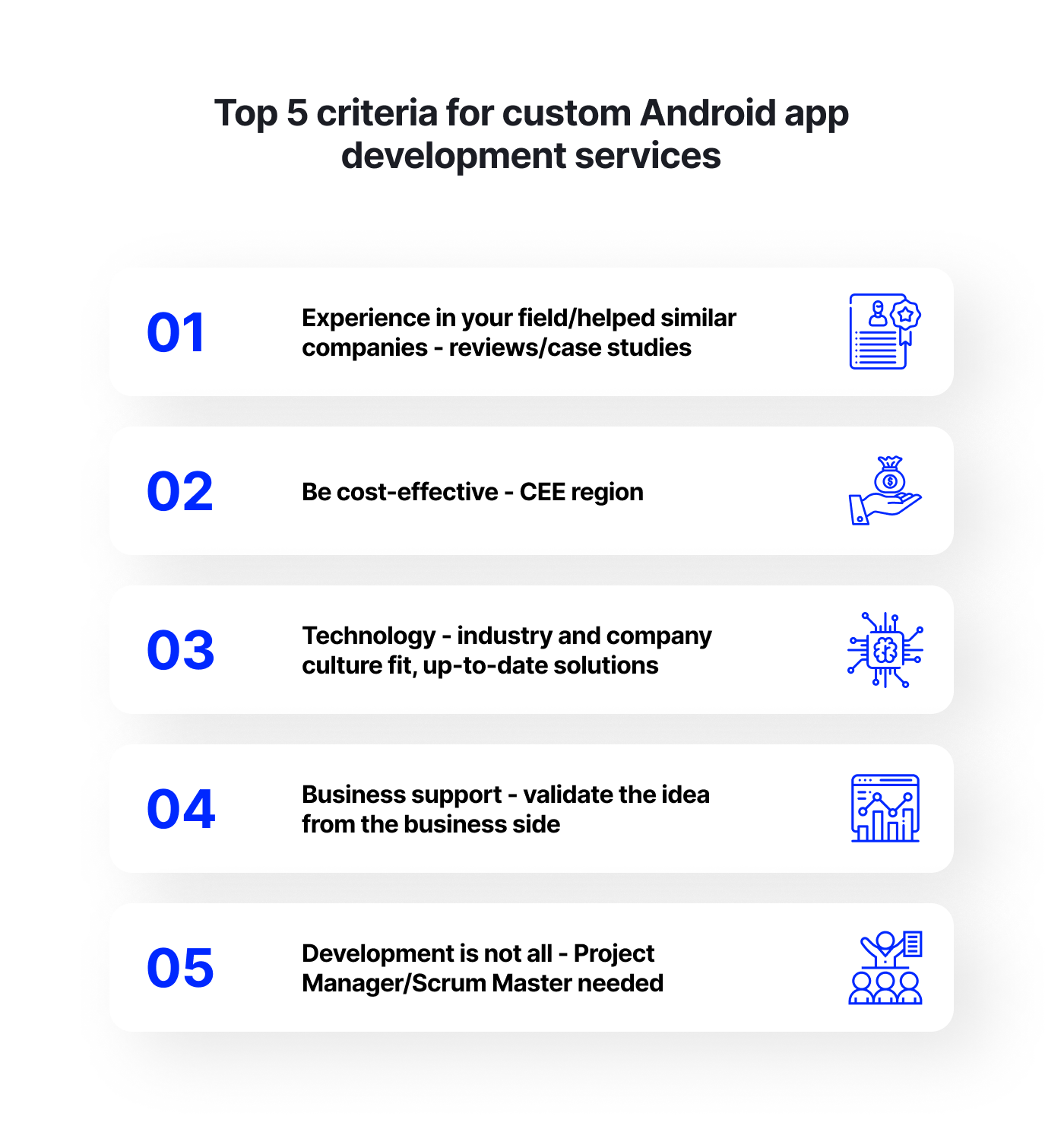 Top 5 criteria for custom Android app development services
