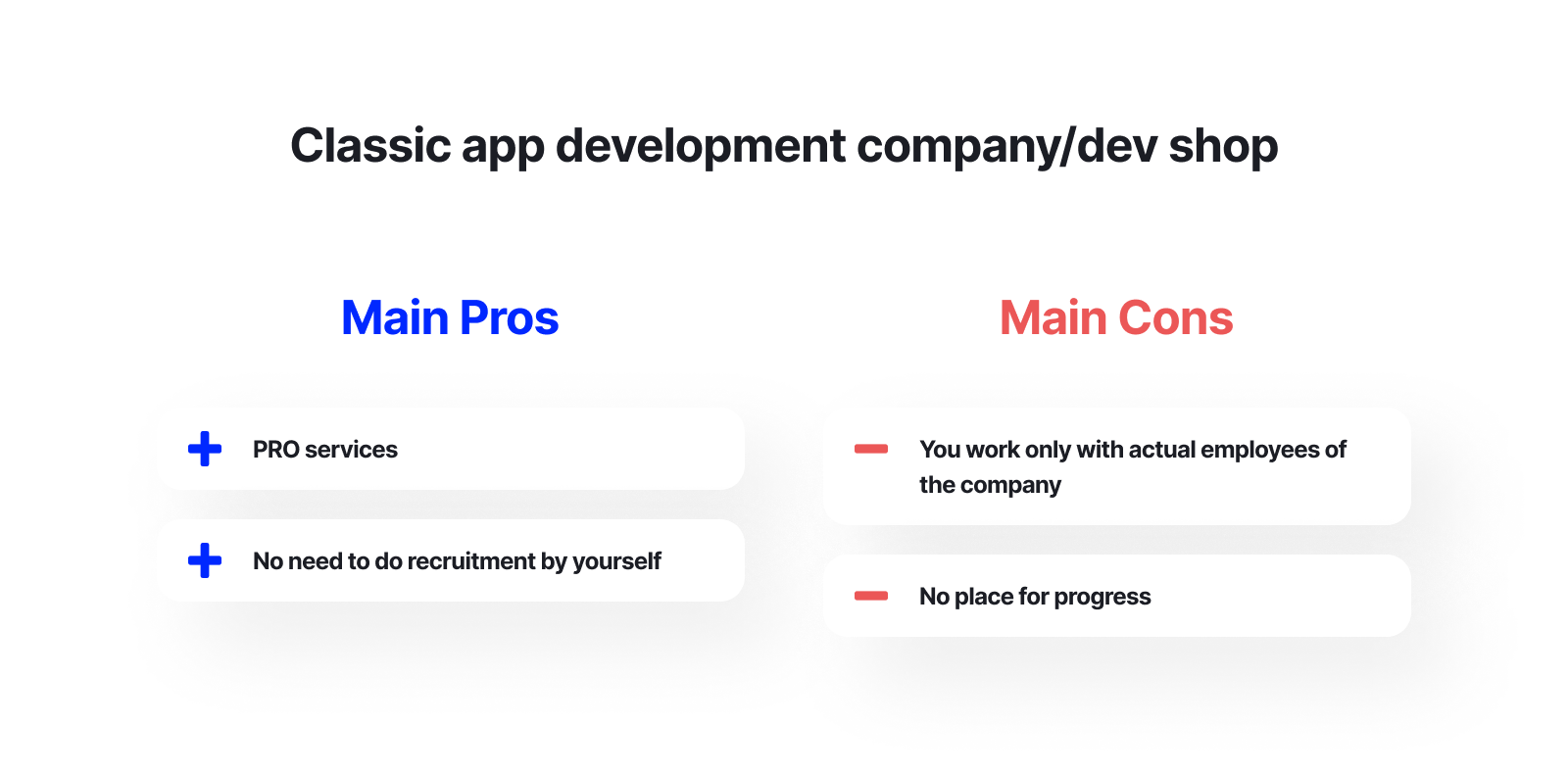 Classic app development company pros and cons
