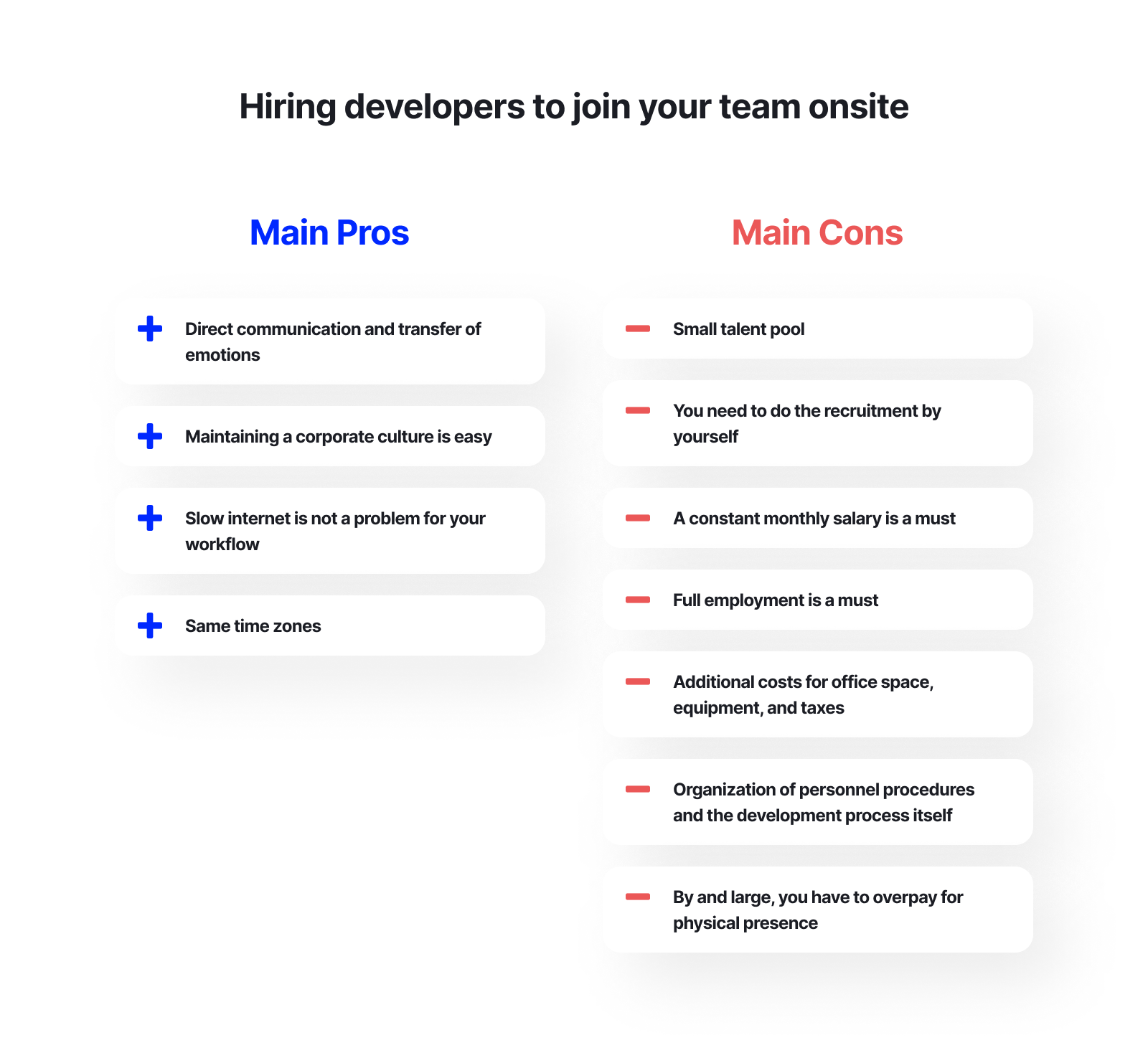 Hiring developers to join your team onsite - main pros and cons